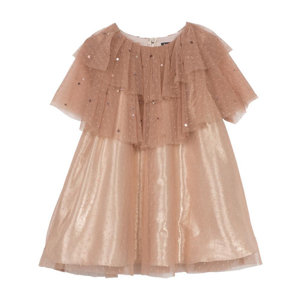 Velveteen Cinnamon Mesh Party Dress