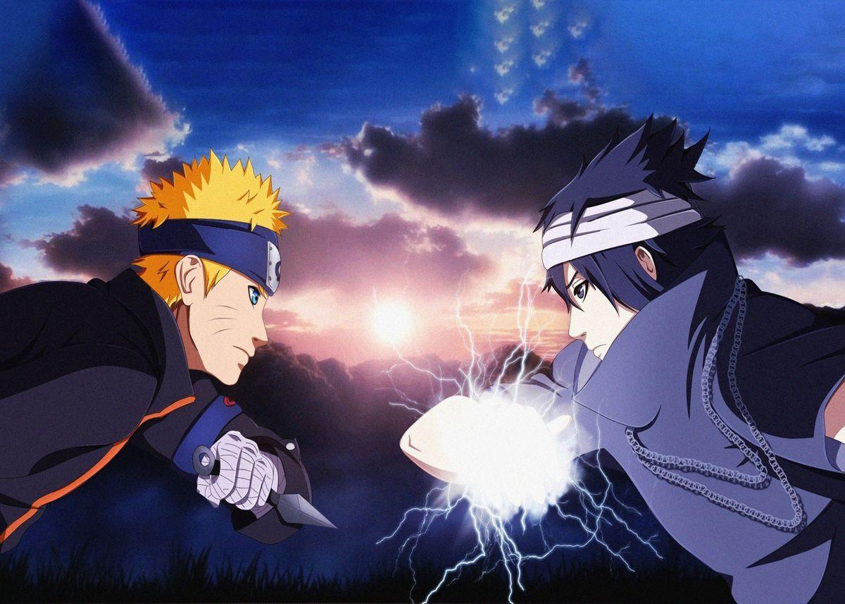Naruto Uzumaki Sasuke Uchi Poster By Loganbass Displate Anime Naruto Vs Sasuke Naruto Gaiden