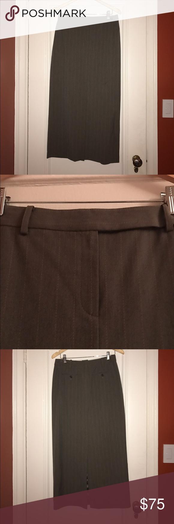 Michael Kors gray pinstripe back slit maxi skirt Michael Kors gray pinstripe back slit maxi skirt MICHAEL Michael Kors Skirts Maxi