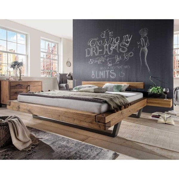 Solid Wood Double Bed Isner Made Of Wild Oak Beams And Sled Base
