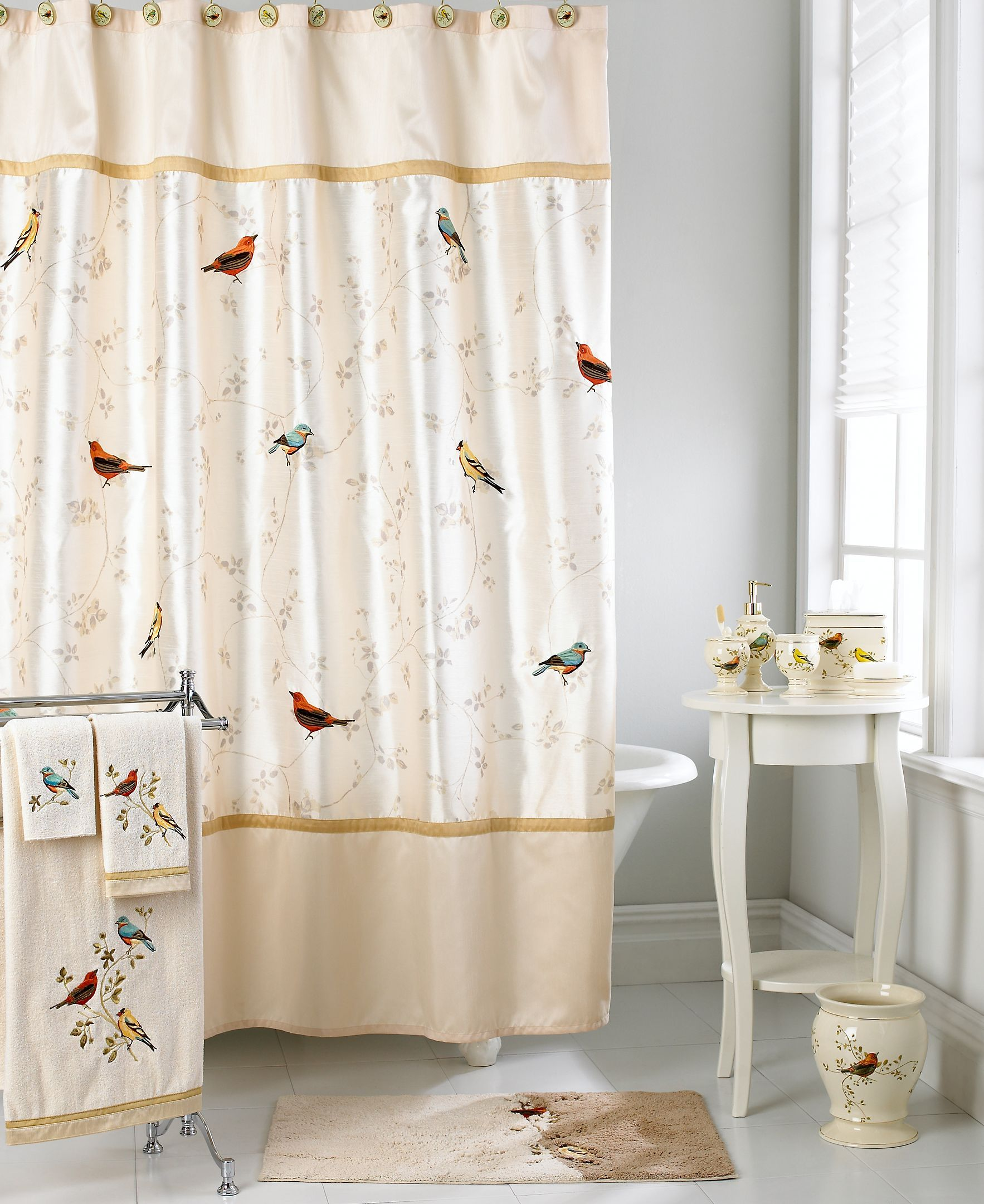 Avanti Bath Accessories Gilded Birds Shower Curtain With Images