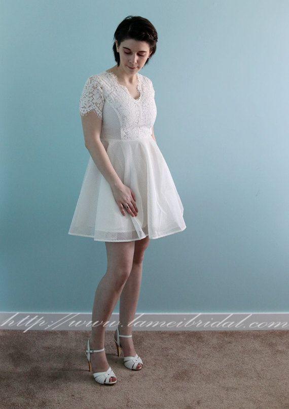 Short Knee Length Ivory Lace Wedding Dress - wedding party dress ...