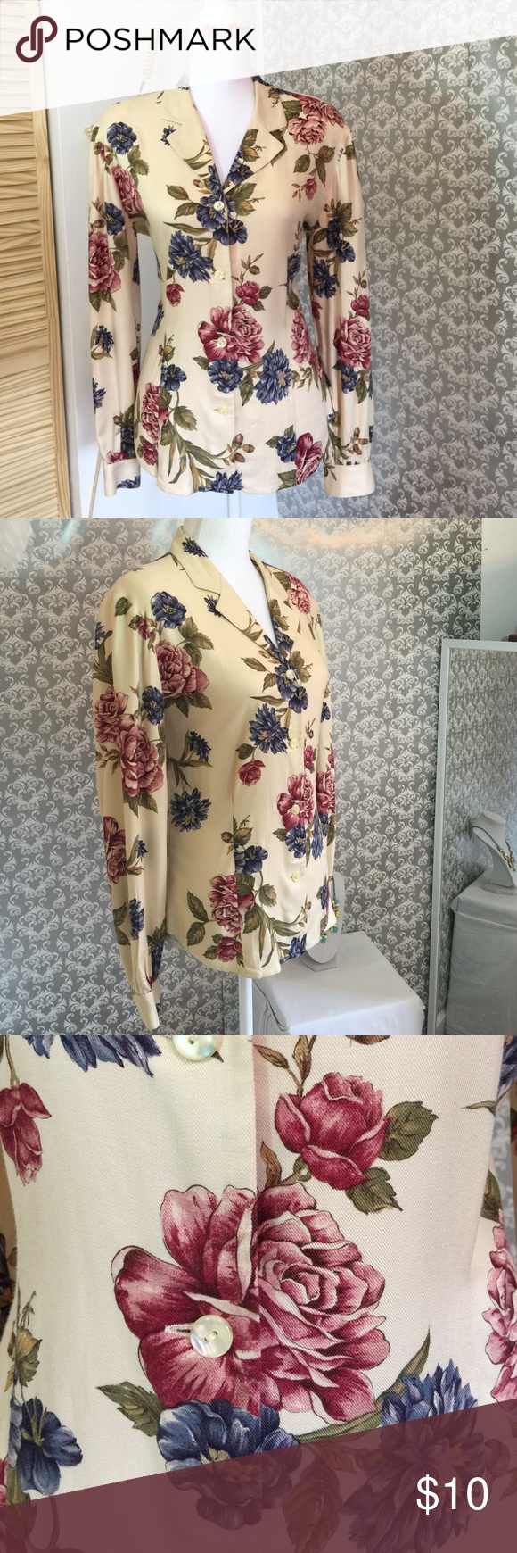 Liz Claiborne flora pattern long sleeve top Lightly worn 26 inches in length 17 inches in width sleeves 23 inches in length fabric is 100% rayon button down Liz Claiborne Tops