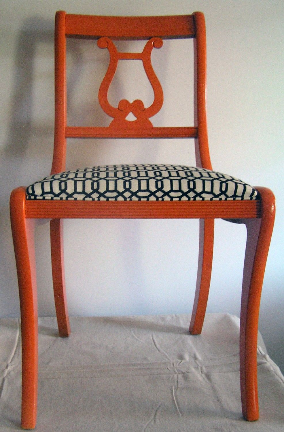 upcycled chair - orange fiddle back side chair with black and