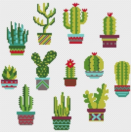 Cactus cross stitch pattern Succulent cross stitch Funny Cactus Pots Mini Cactus sampler Floral cross stitch Simple Modern cross stitch PDF