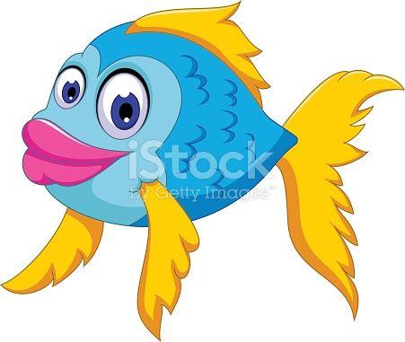Vector Illustration Of Cute Fish Cartoon Posing Cute Fish Cartoon Drawing Class