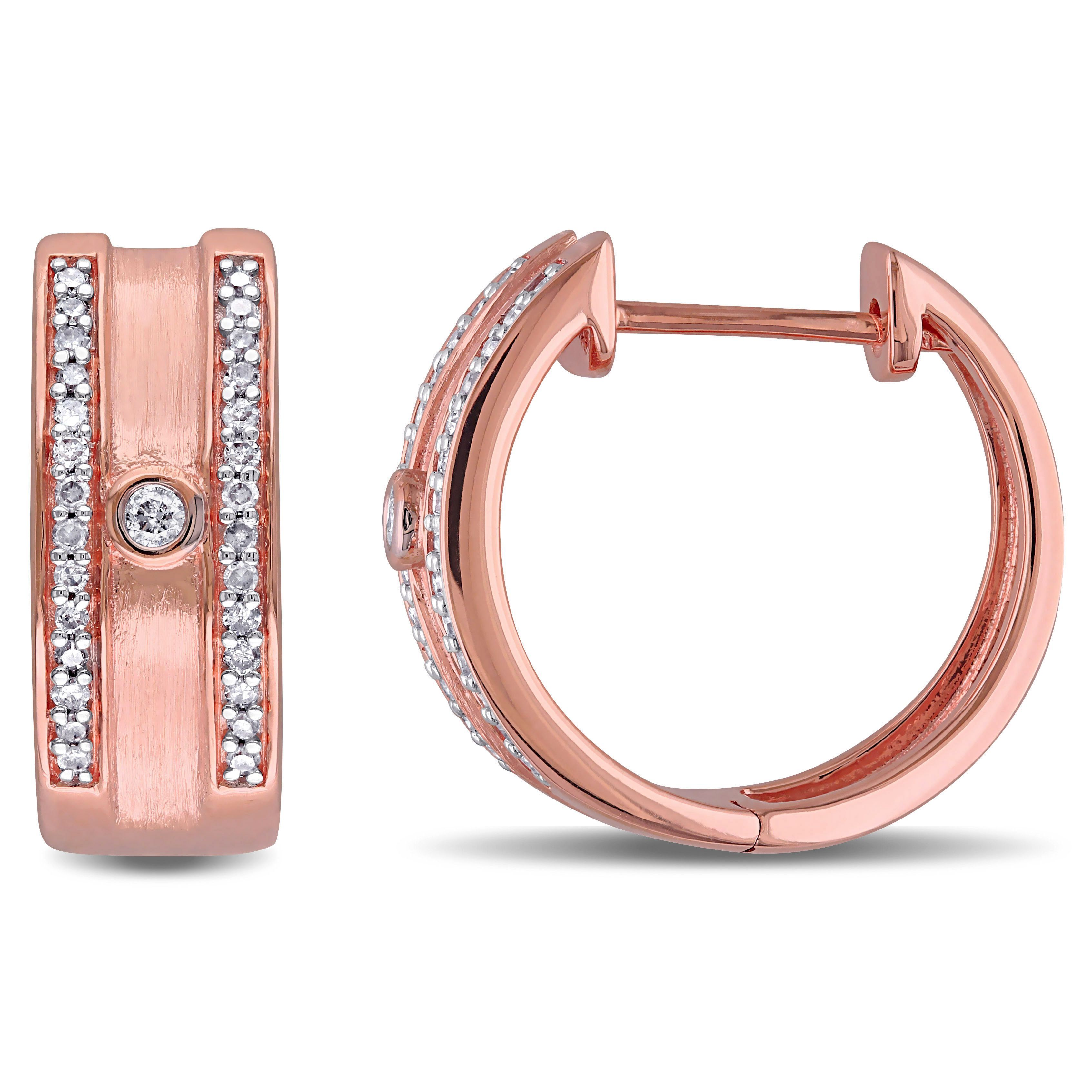 Miadora 10k Rose Gold 1 5ct TDW Diamond Hoop Earrings G H I2 I3