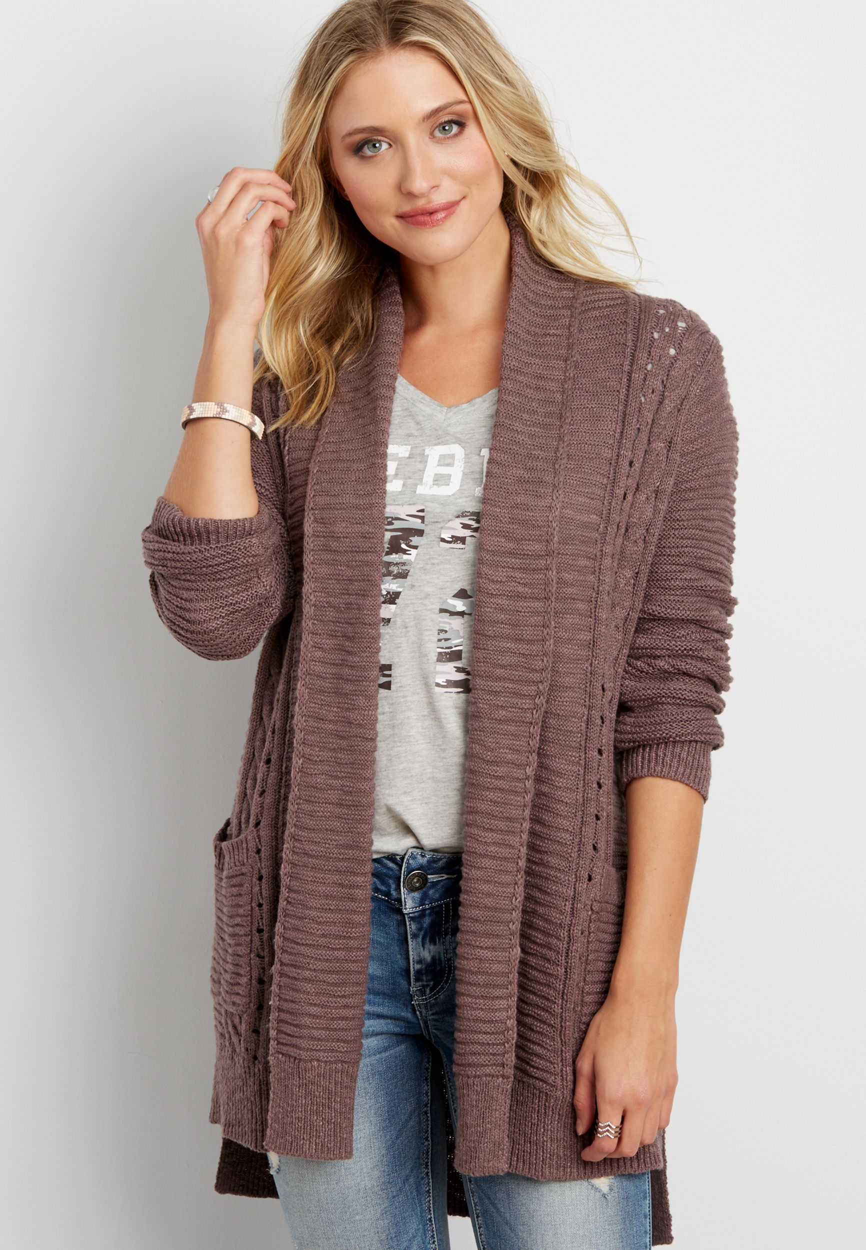 ribbed and cable knit cardigan with pockets (original price ...