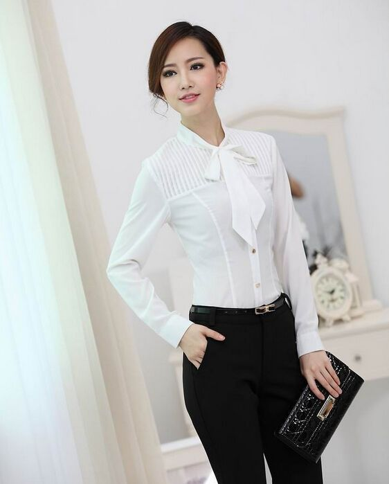 0fd97edd9a2 New 2015 Fall Formal White Blouses Women Long Sleeve Ladies Work Blouses   Shirts  Office Uniform Styles gxlan5127