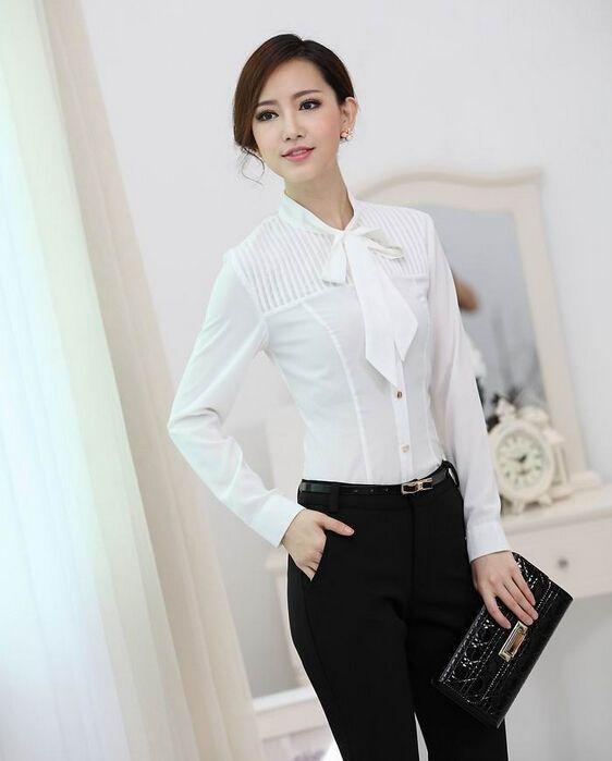 New 2015 Fall Formal White Blouses Women Long Sleeve Ladies Work ...