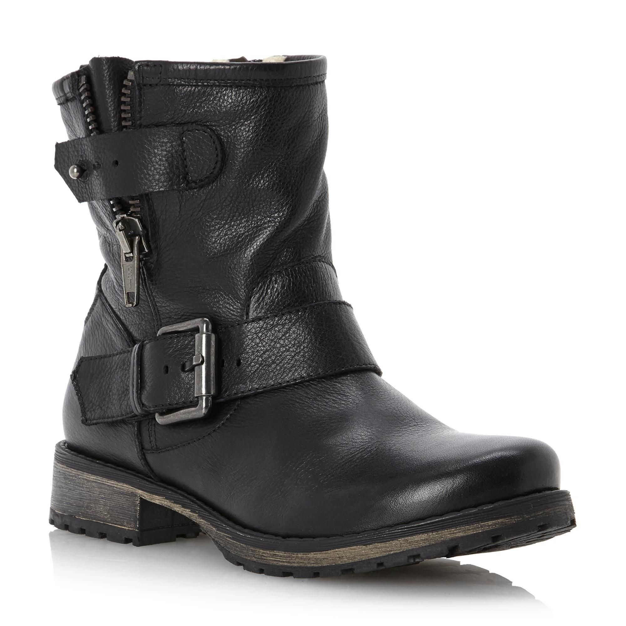dune promey side zip leather ankle biker boot in