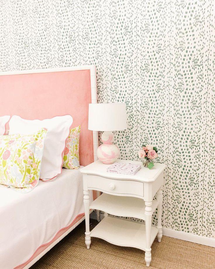 green floral bedroom wallpaper. coral bed Girl room