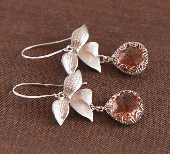 Peach Earrings  Silver Framed Peach Glass by lilabelledesign, $28.00   Listing ToolsEdit Renew PromoteCopy Deactivate Delete  Stats  Peach Earrings - Silver Framed Peach Glass, Silver Plated Leaf Earrings - Simple Elegant - Gifts under 30 - Fall, Winter, Autumn
