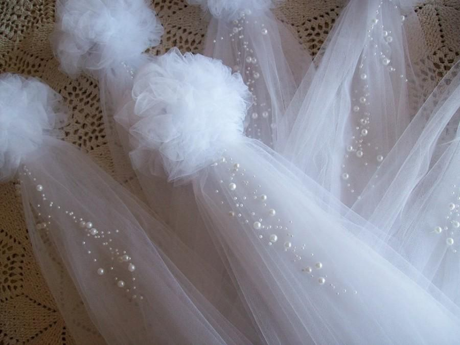 Pom Pew Bows Tulle And Pearl Bows Church Pew Pew Bows Aisle Decor Quinceanera Decorations Chair Tulle Pew Bows Church Wedding Decorations Pew Decorations