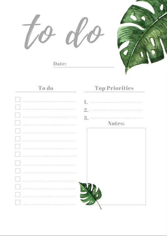 To do list planner printable, to do instant download, daily agenda planner, planner inserts, digital download planner pages,