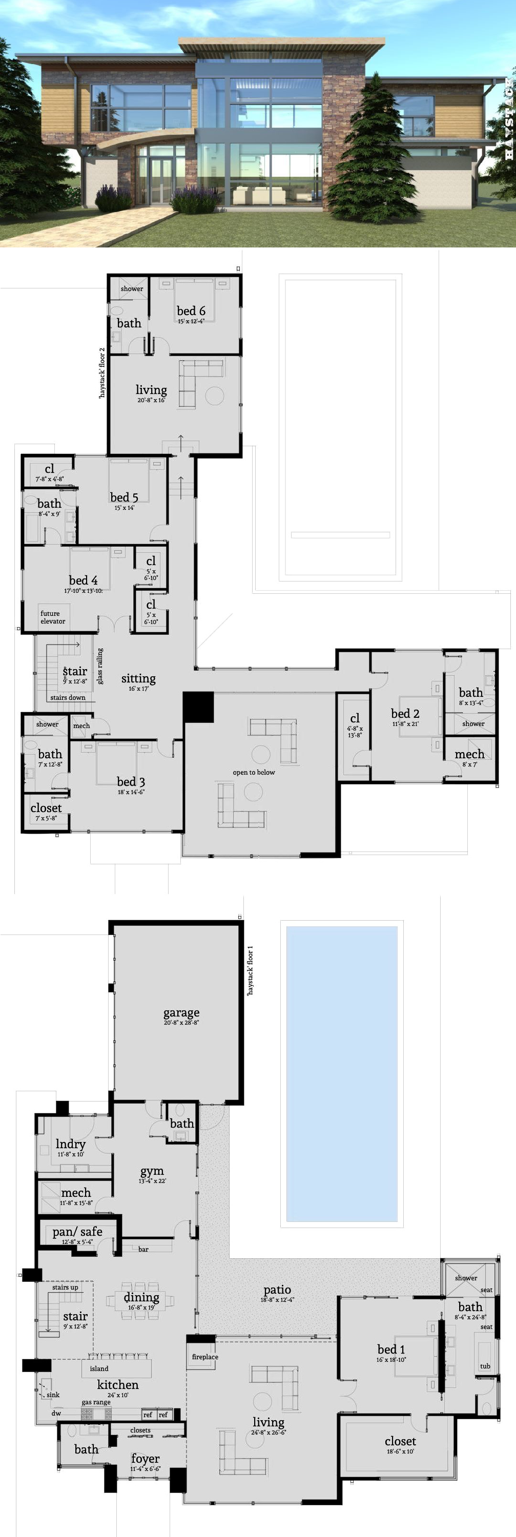 6 Bedroom Modern Home With Safe Room Tyree House Plans Luxury House Plans House Layouts Pool House Plans