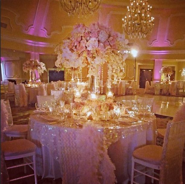 Pink And Gold Wedding Decorations: Love The Soft Pink And Gold Uplights.