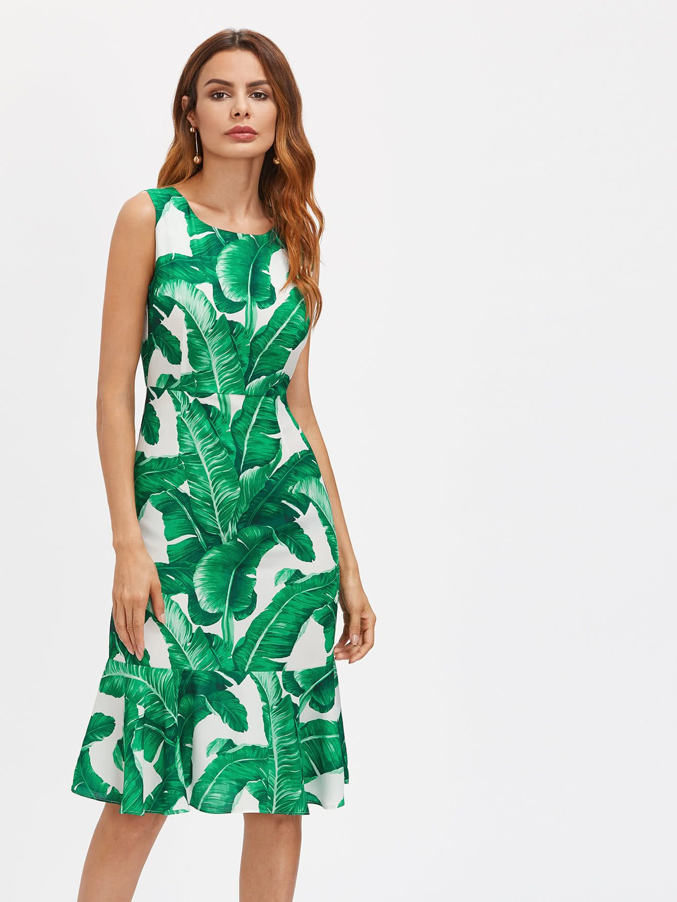 Palm leaf print zipper back dress leaf prints dress online and