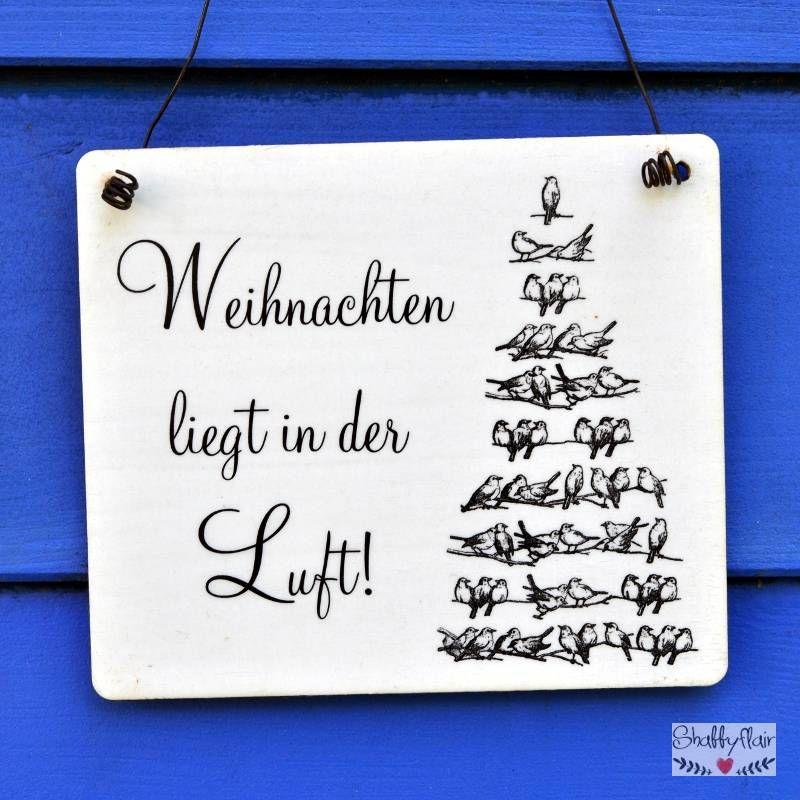Holzschild Dekoschild Weihnachten Im Shabby Chic Von: Shabby Chic Dekoschild Aus Holz WEIHNACHTEN Liegt In Der