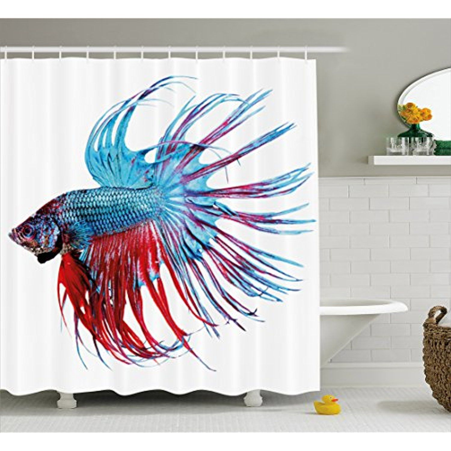 Aquarium Shower Curtain By Lunarable Fantastic Betta Fish Close Up Dragon With Fringy Tail