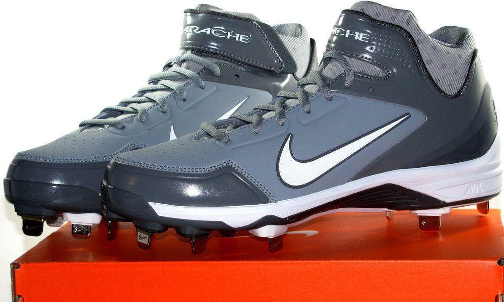 Nike Huarache Black Metal Cleats Baseball Shoes Men's Size 9.5