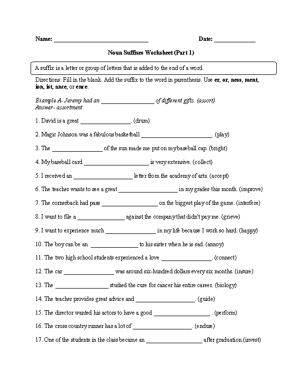 4th Grade prefixes and suffixes worksheets 4th grade : Noun Suffixes Worksheet Part 1 Advanced | Englishlinx.com Board ...
