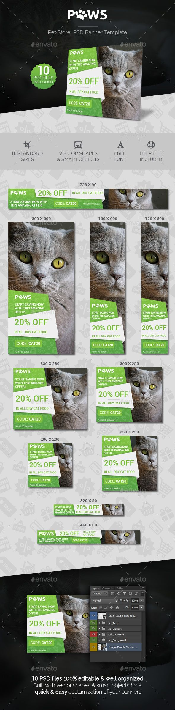 Paws - Pet Store PSD Banner Template | Banner template, Banners and ...