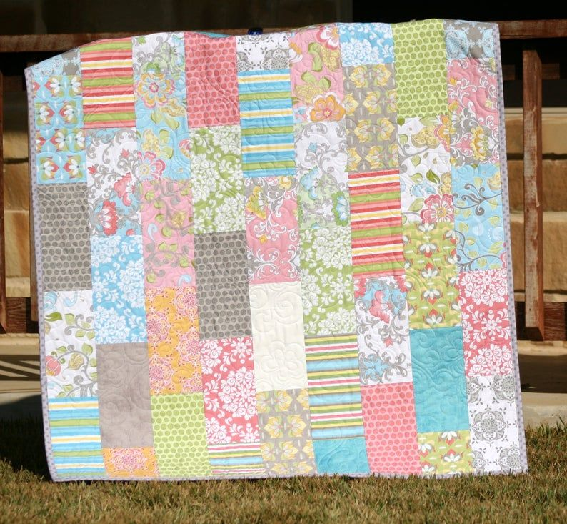 Layer cake quilt pattern pathway baby quilt and throw size