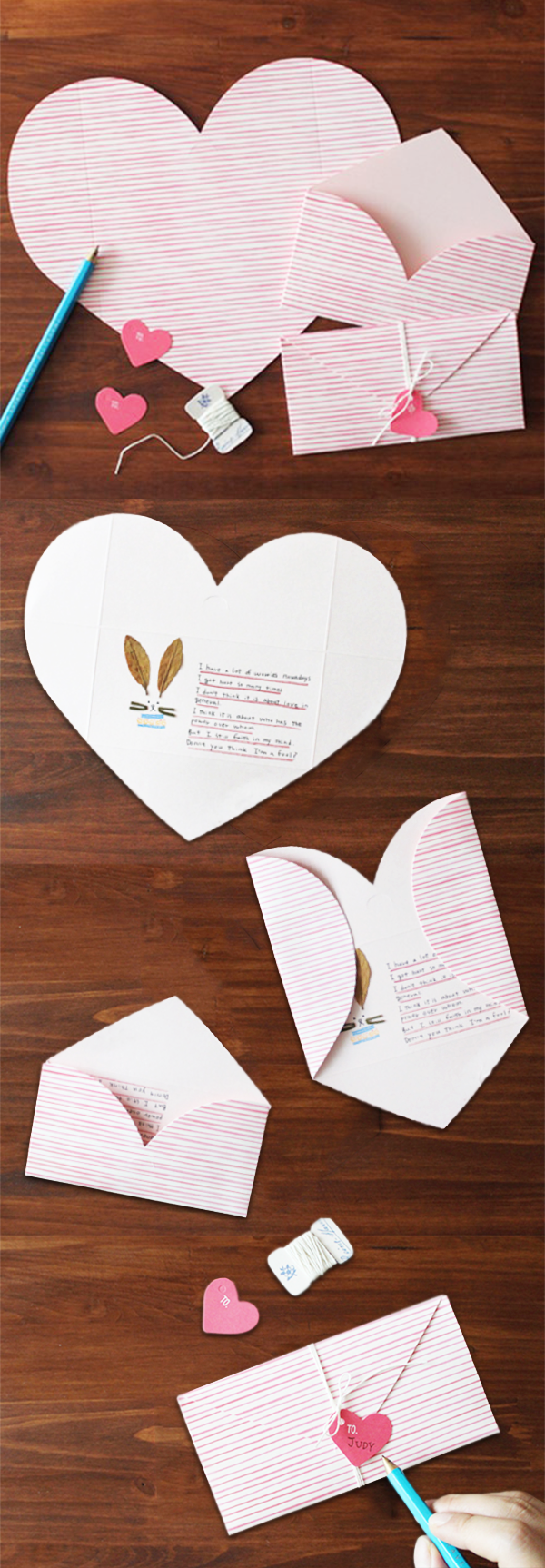 Cute An Envelope And Card In One The Pink Stripe Love Letter Is A