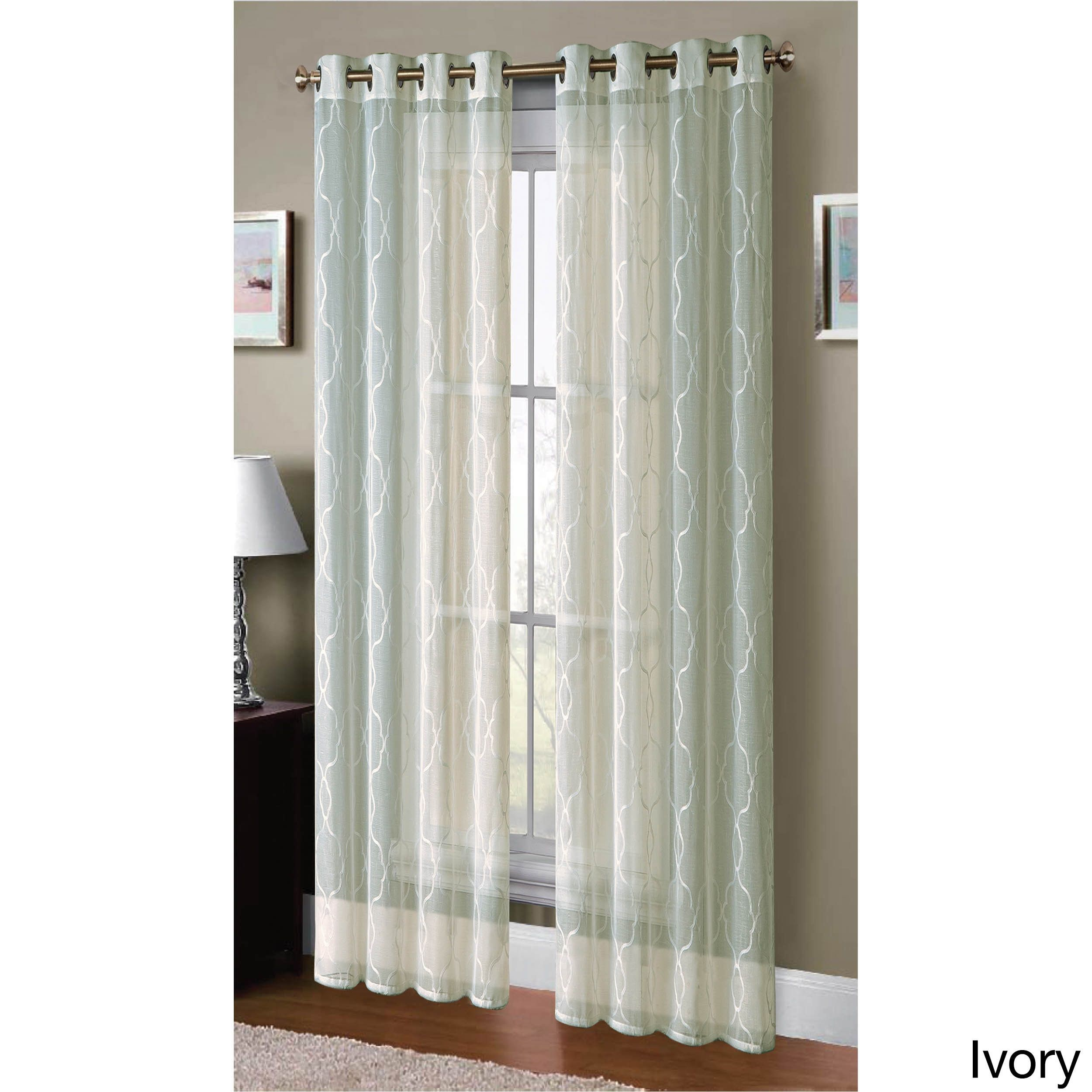 Window Elements Boho Embroidered Faux Linen Sheer 96 Inch Grommet