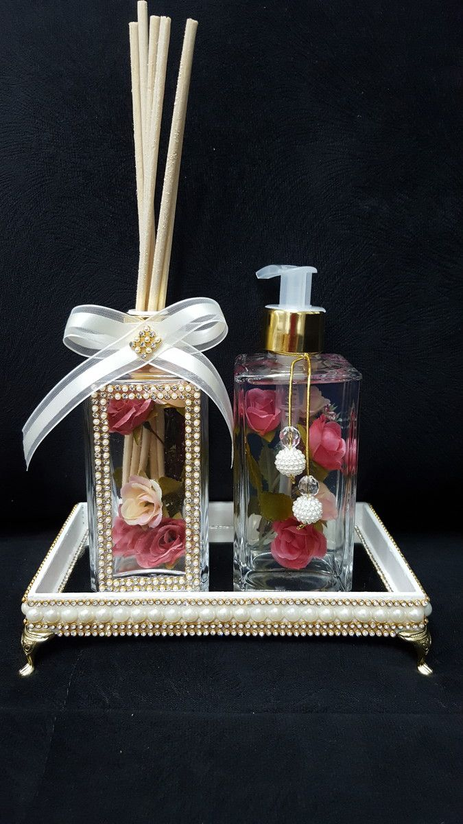 kit lavabo luxo rosa bebe frascos de vidro sabonete. Black Bedroom Furniture Sets. Home Design Ideas