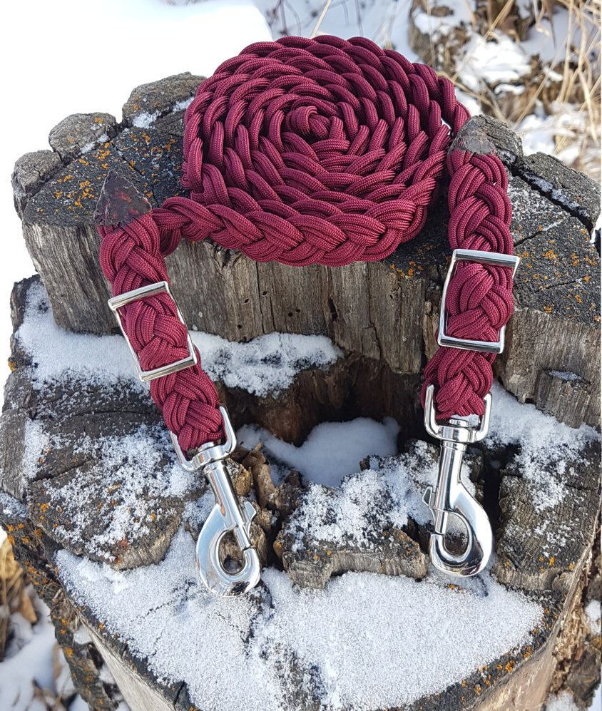 Burgundy Adjustable Horse Reins 9 Strand Paracord