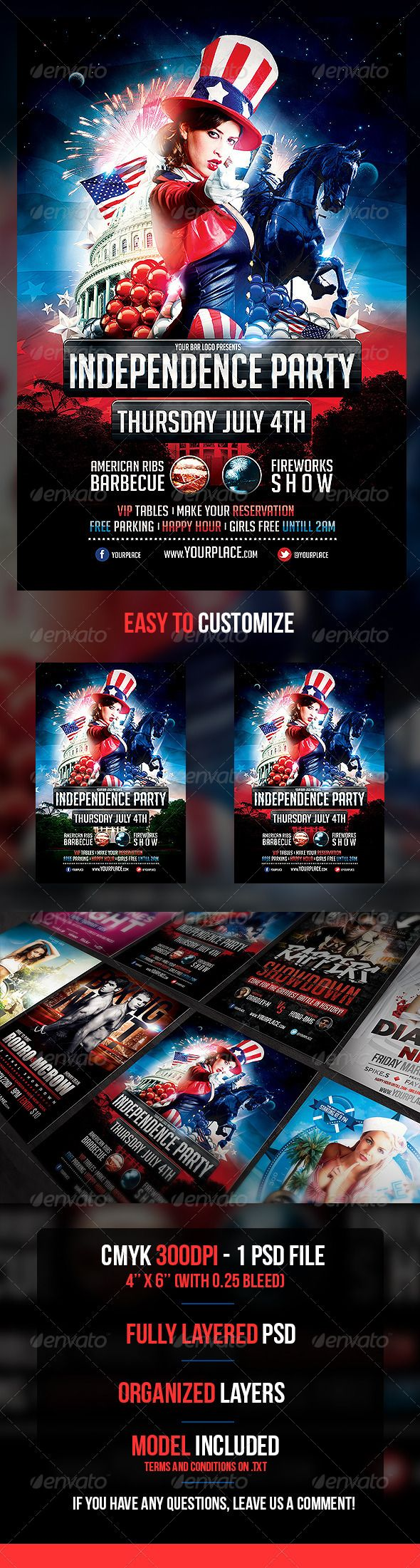 Independence Day Flyer Template  Flyer Template Template And Fonts