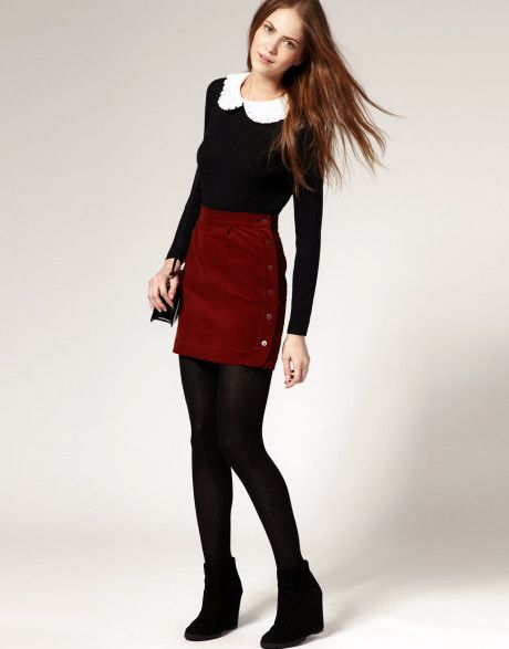 Red Corduroy Skirt Bordeaux Black Tights Black Sweater And White