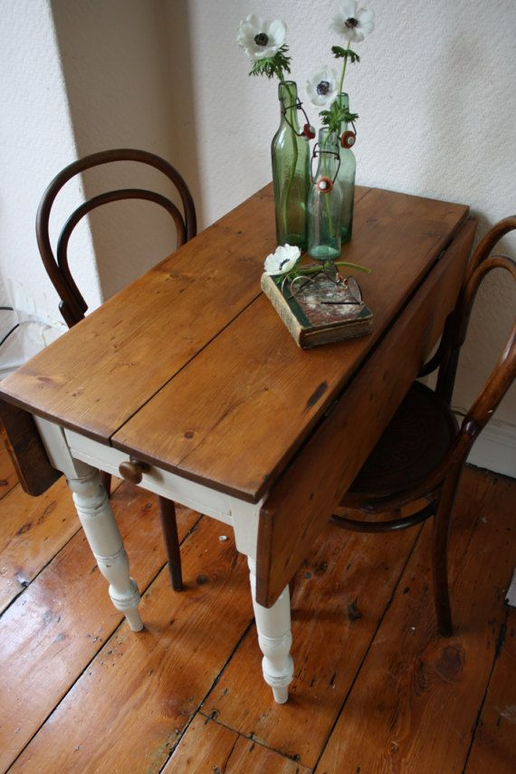Restored Vintage Pine Drop Leaf Table With Single By Arthurandede Drop Leaf Table Leaf Table Farmhouse Table