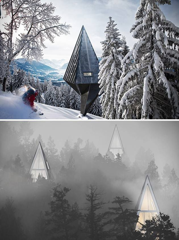 Sustainable Pine Tree-Shaped Houses.