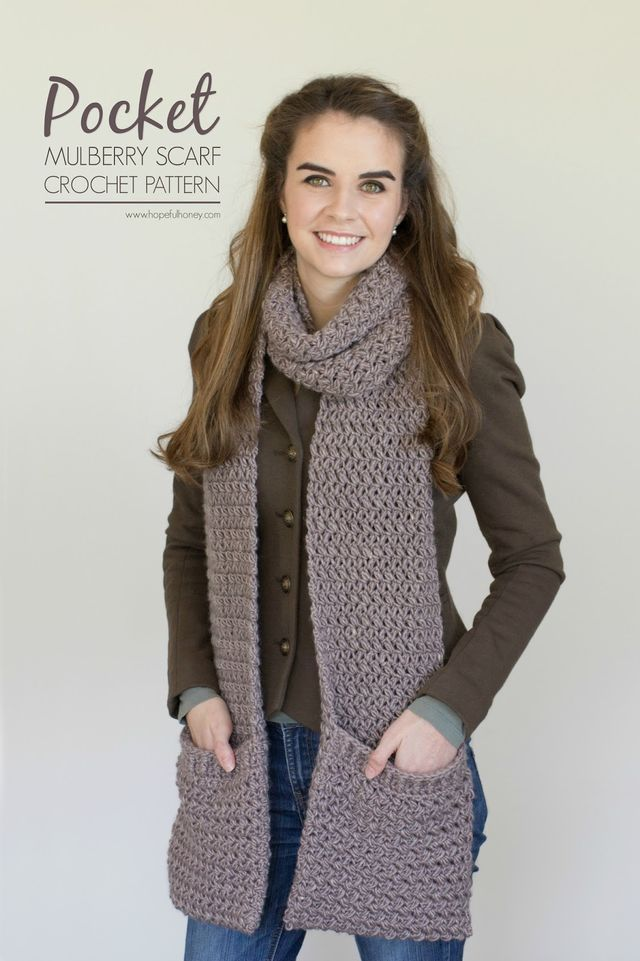 Mulberry Shadow Pocket Scarf - Free Crochet Pattern (Hopeful Honey