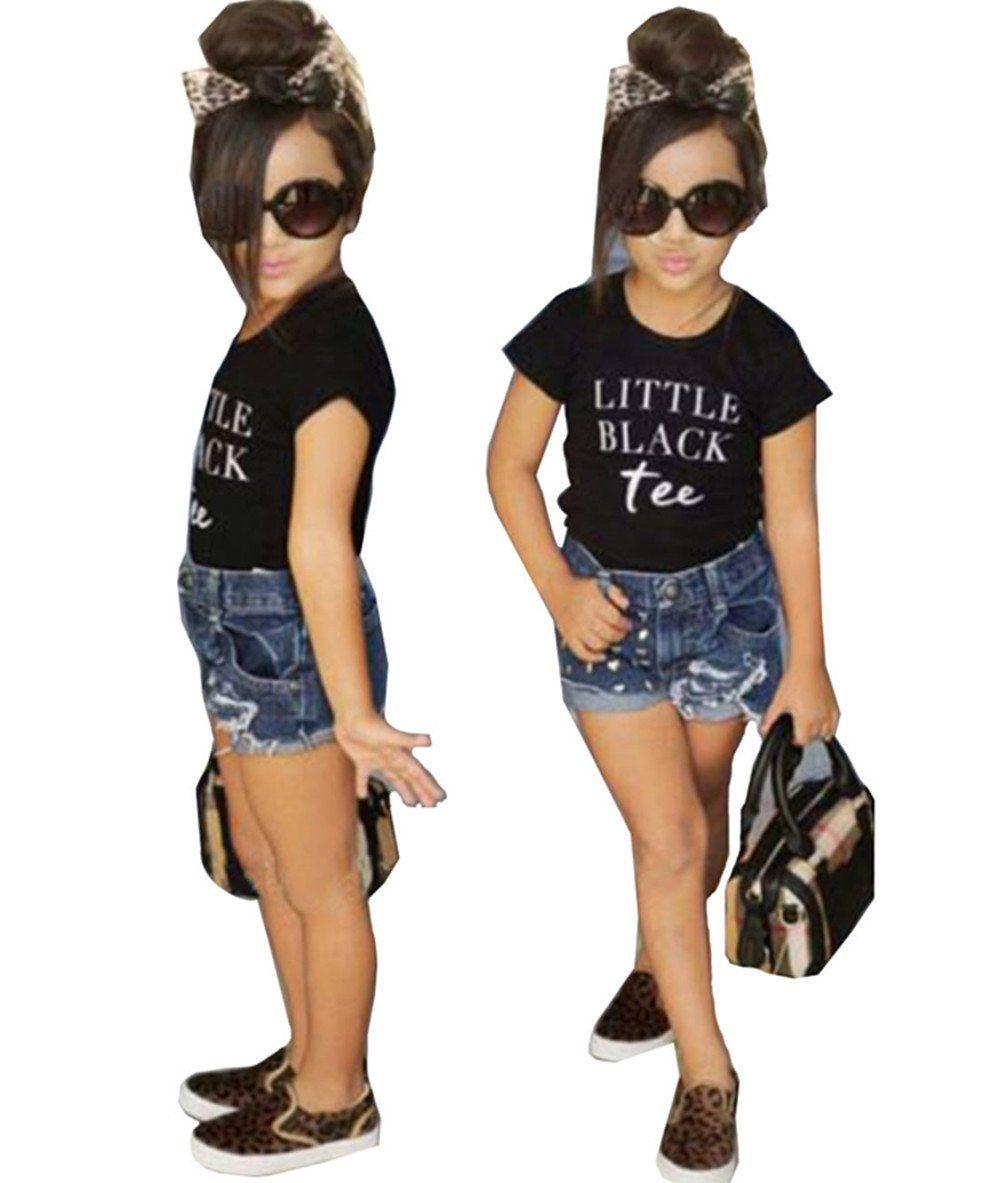 7eb5ae276a ... Clothing Sets by Girl World. Kids Girls Summer Letters Print Short  Sleeve T-shirt Hole Denim Shorts Set size 4