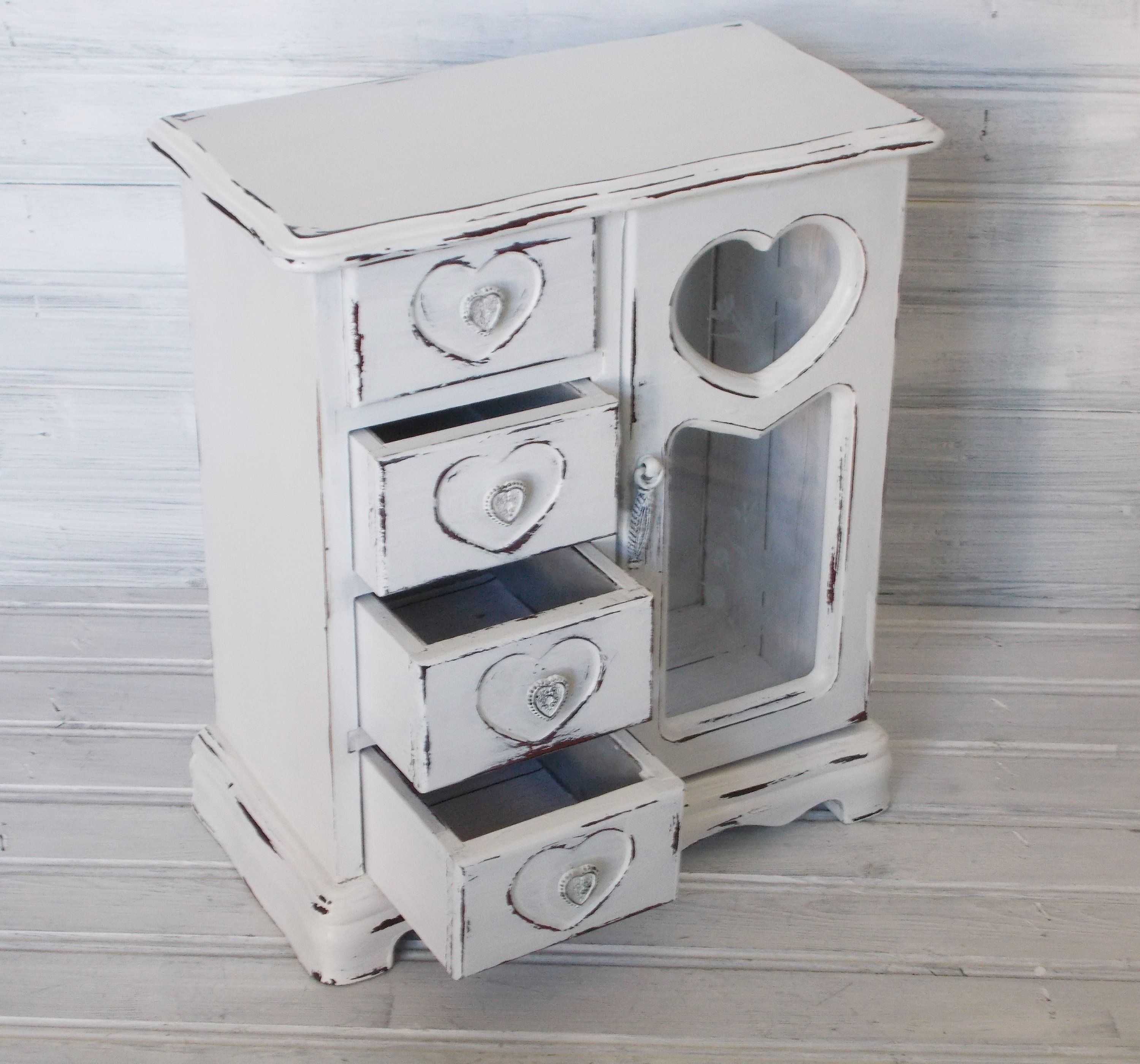 Farmhouse Chic Jewelry Box White Painted Distressed Jewelry Box MBS Shabby Chic Jewelry Box
