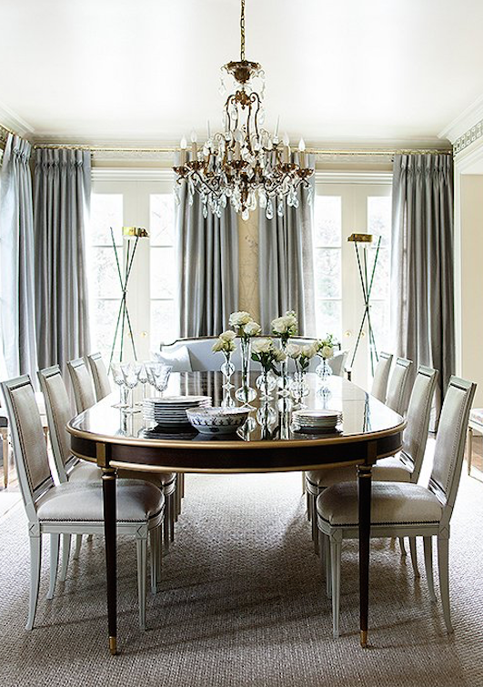 This Gray And Cream Formal Dining Room With Gold And Crystal Accents Is Nothing Short Of Sheer Glam Luxury Dining Room Dining Room Victorian Dining Room Drapes