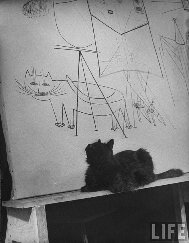 Black and White Portraits of Blackie, Gjon Mili's Cat in the 1940s