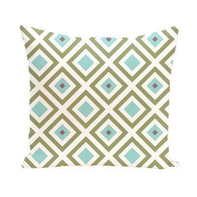 E by Design Squared Decorative Pillow Green / Aqua Polyester - PGN126GR19BL3-26
