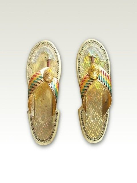 c1a0fd04f0631 Ahenemaa Women Sandals (B). Golden traditional African women sandals with  Ghana flag colors. Elegant and classy look for an African lady at a  cultural event ...