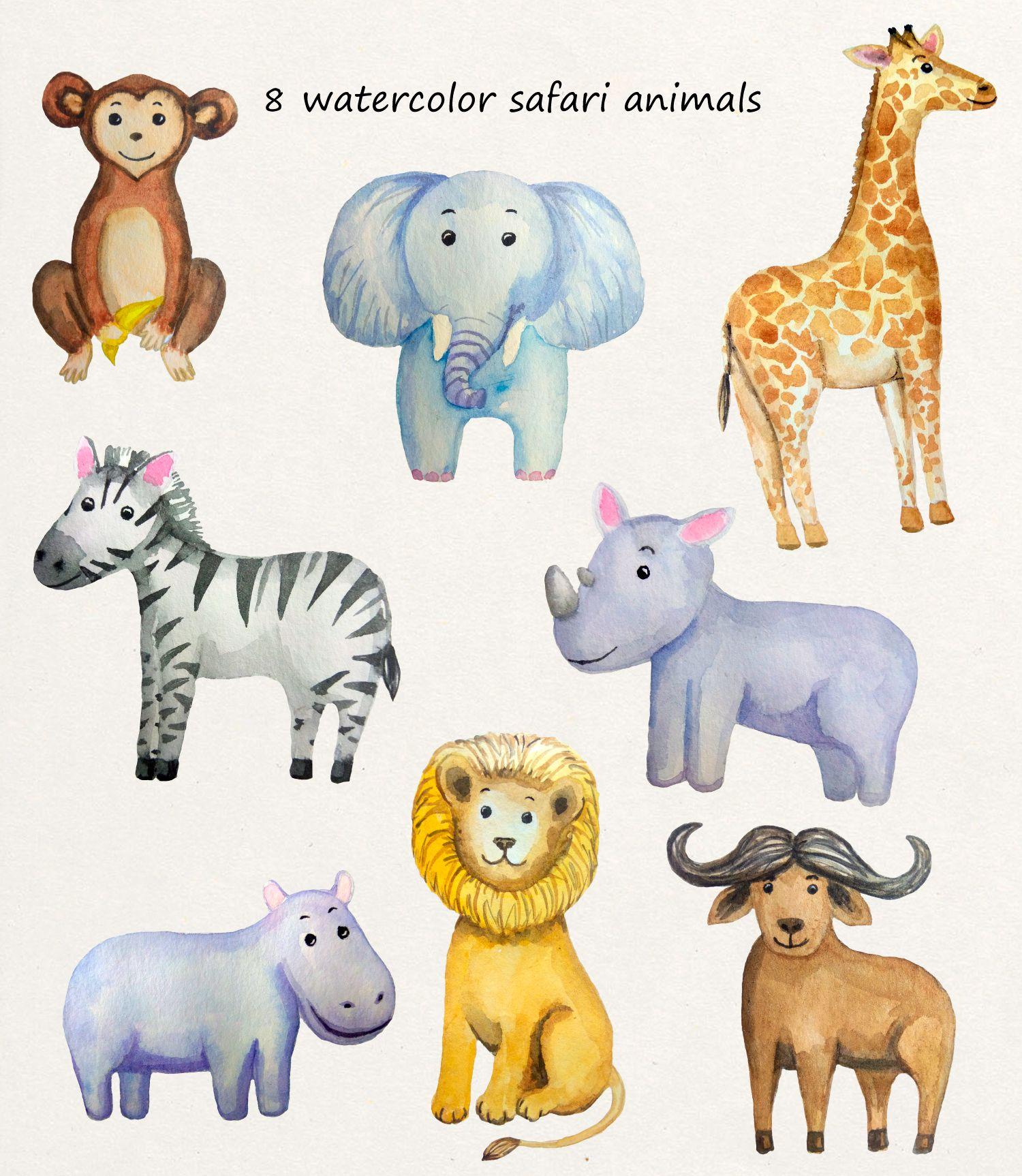 Watercolor Clipart Jungle Safari Baby Shower Nursery Clipart Printable Art Wall Safari Woodland Animals Kids Boho Clipart Tropical Jungle Safari Baby Shower Jungle Safari Baby Safari Baby