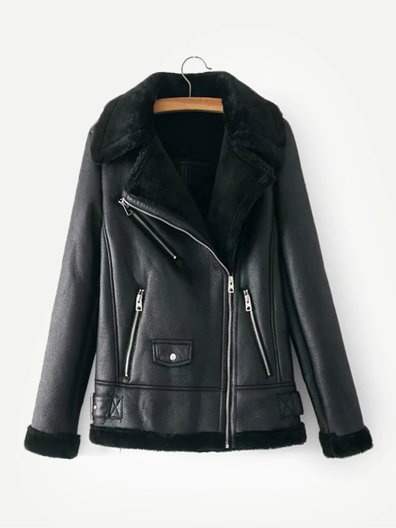 Faux Fur Lined PU Jacket Jackets for women, Leather