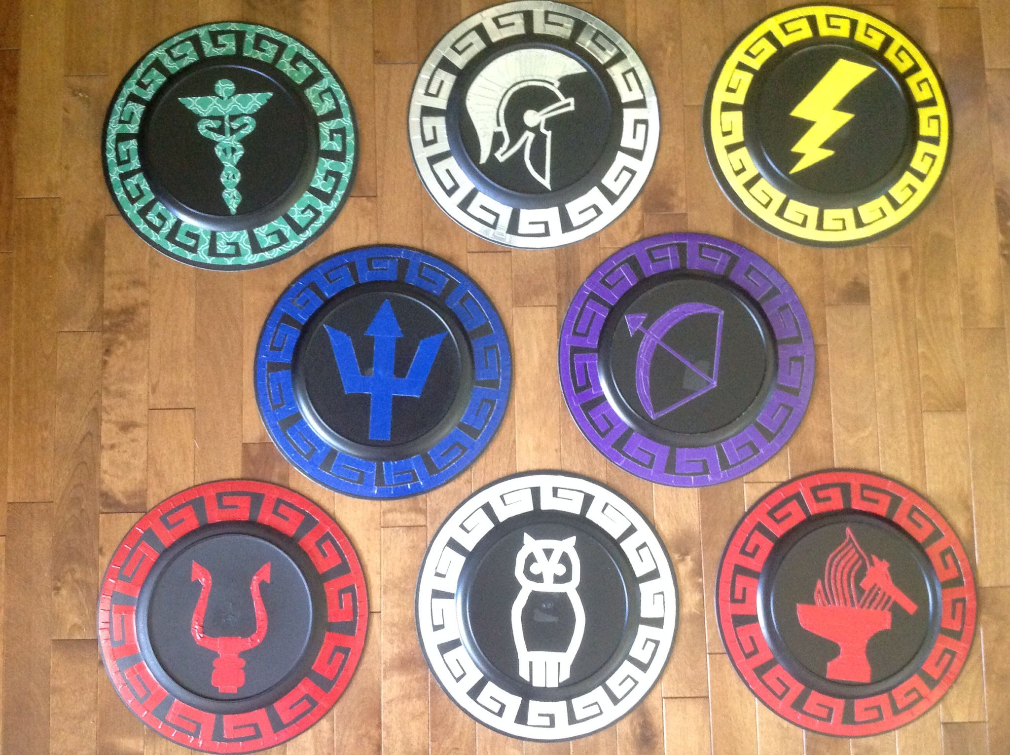 Percy jackson inspired shields hermes ares zeus poseidon hermes ares zeus poseidon artemis hades athena and hephaestus symbols with greek borders made these with colored duct tape on 13 inch diameter biocorpaavc Gallery