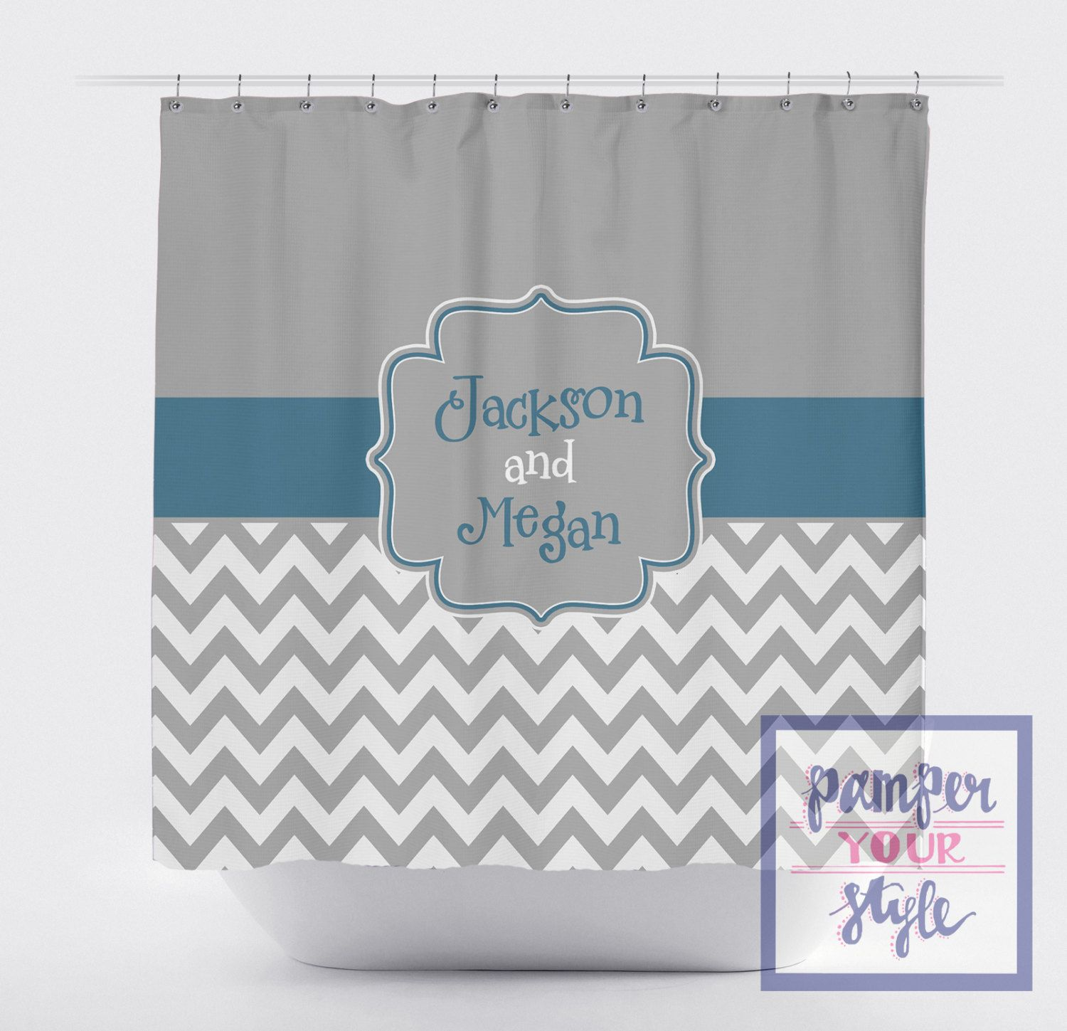 Gray And Teal Monogrammed Shower Curtain