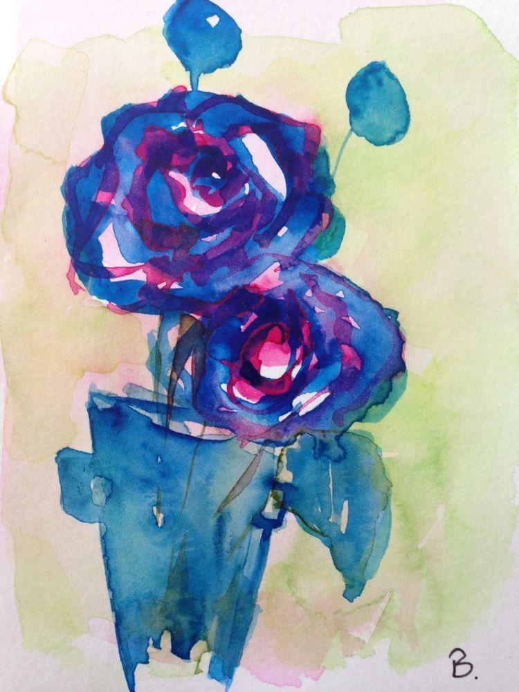 Original Aquarell Aquarellpostkarte Bild Kunst Rosen Blumen