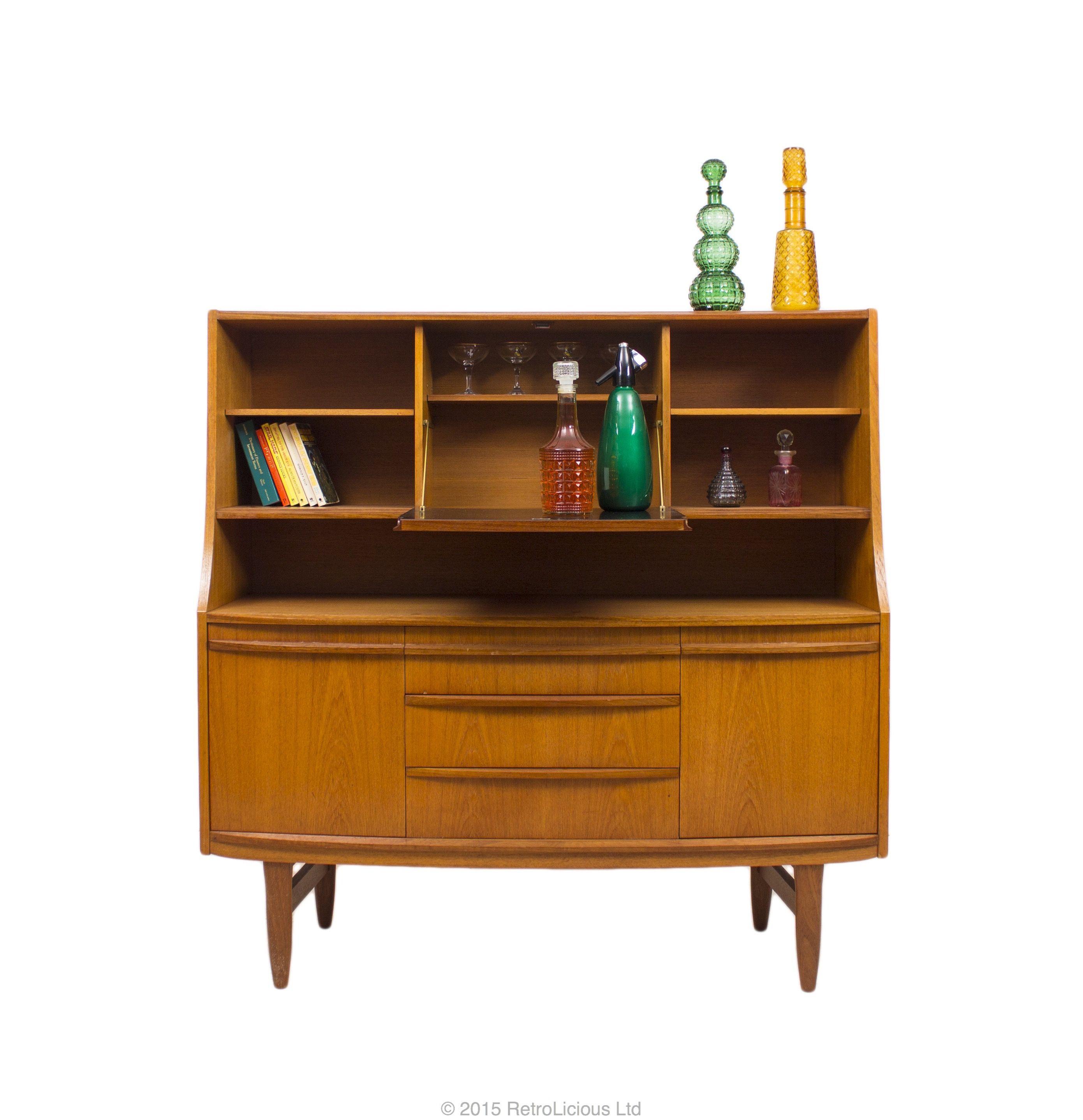 Danish Style Teak Highboard Drinks Cabinet Sideboard Credenza Storage G