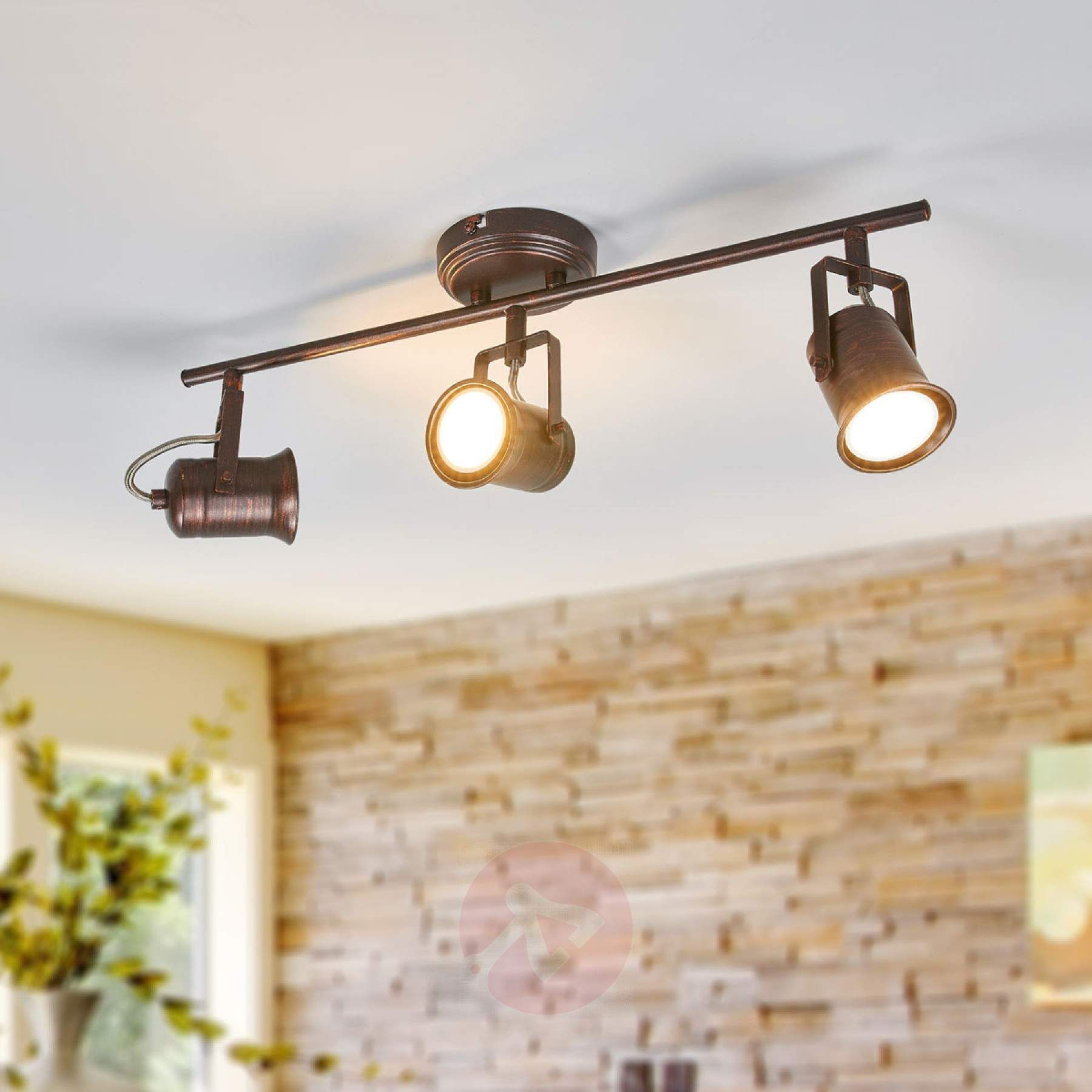 Rustic Led Ceiling Lamp Cansu In Brown